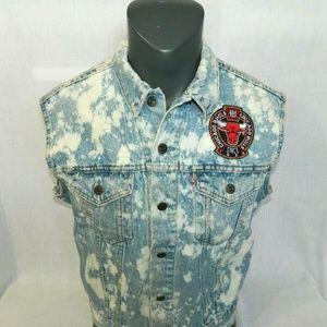 Vintage Chicago Bulls Denim Jean Vest Acid Wash